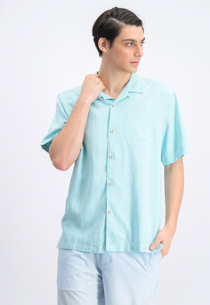 Men's Weekend Tropics Silk Shirt, Aqua Mist