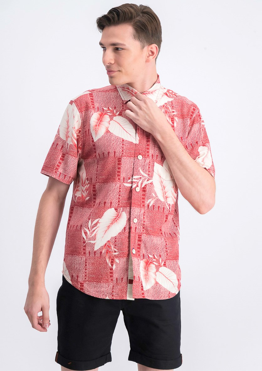 Men's Geo Palm-Print Silk Camp Shirt, Plaza Palms