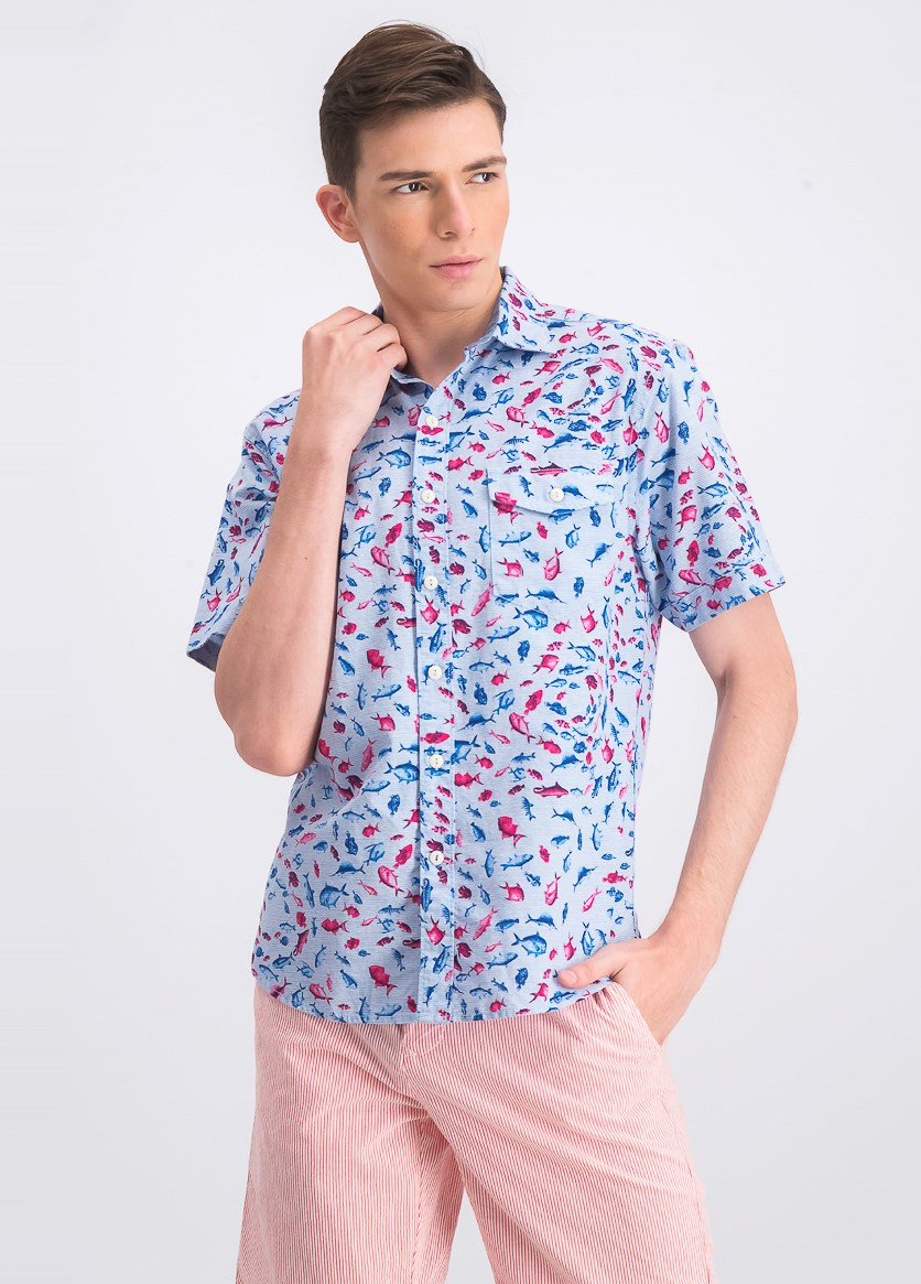 Men's Pesca Fiesta Stripe Fish-Print Camp Shirt, Blue/Pink