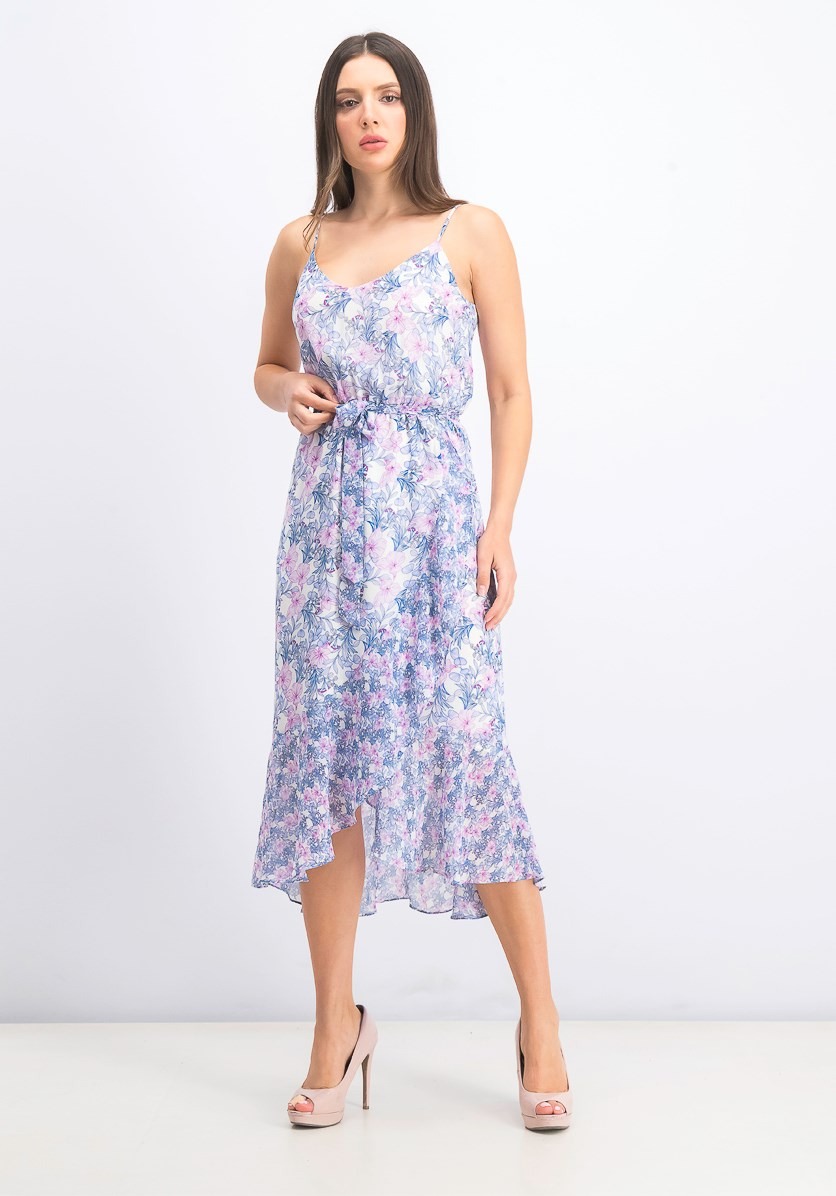 Women's Floral Ruffled Casual Dress, Pearl Ivory