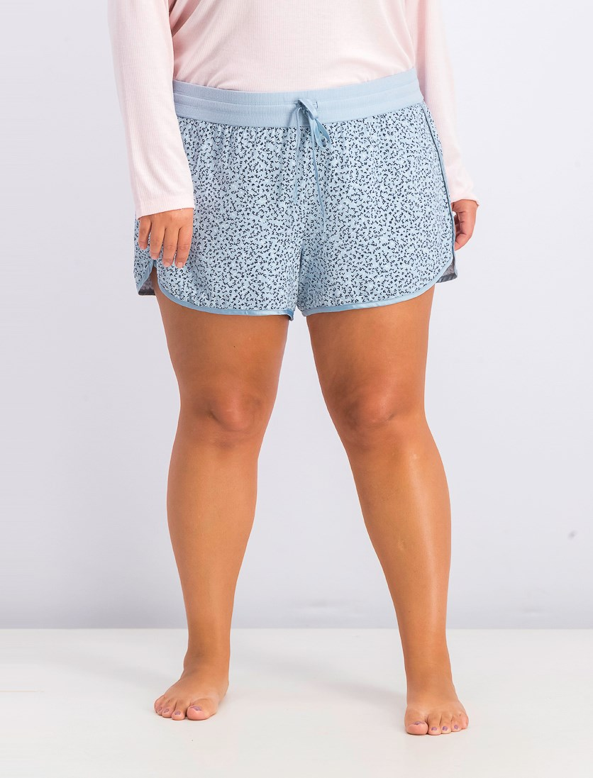 Women's Satin-Trimmed Printed Pajama Shorts, Rain Dance Ditsy