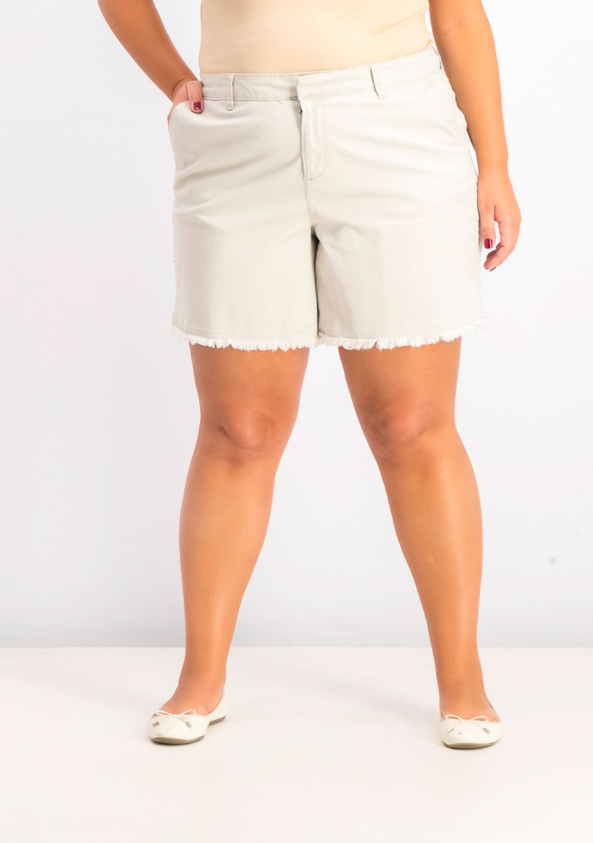 Women's  Plus Size Released Hem Shorts, Stonewall