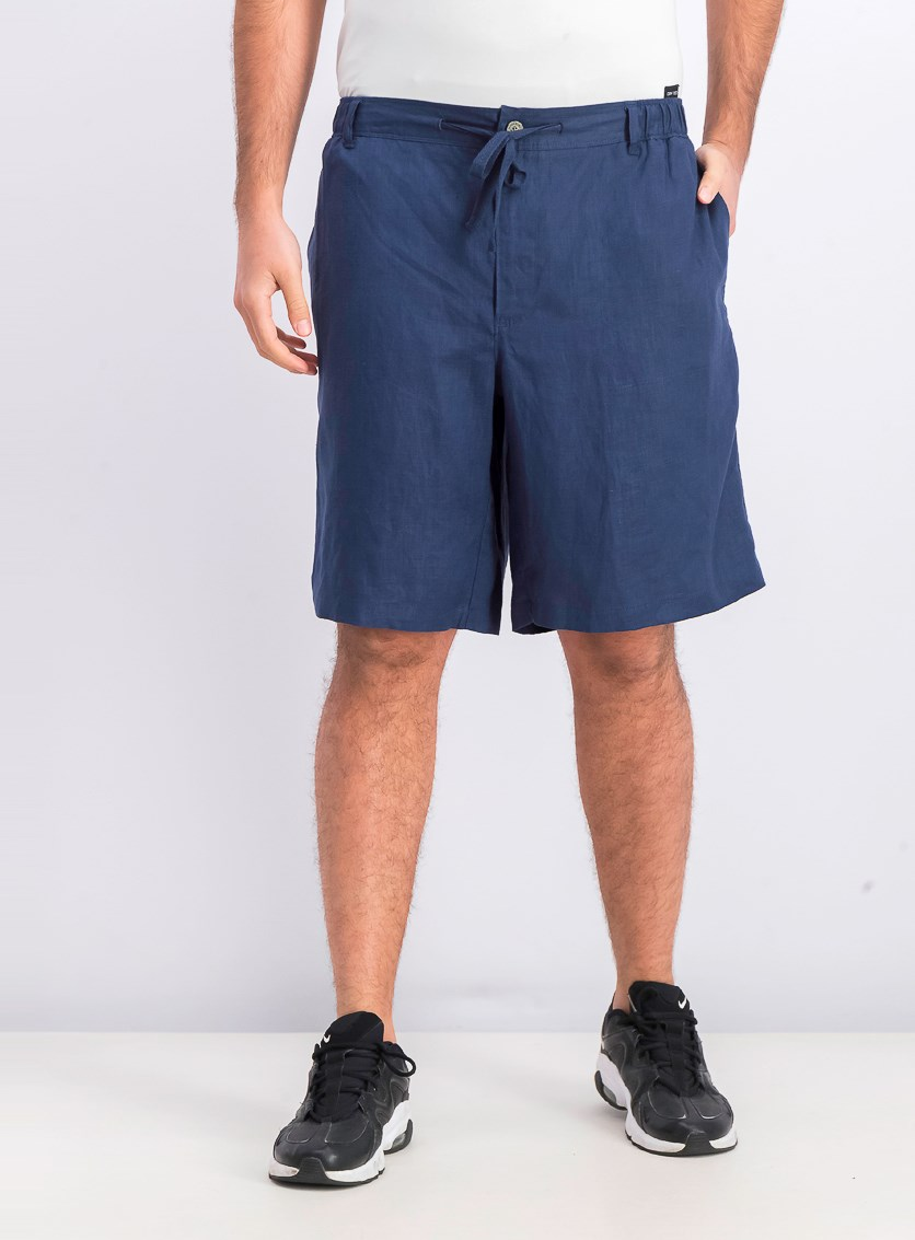 Men's Drawstring Linen Shorts, Navy Blue