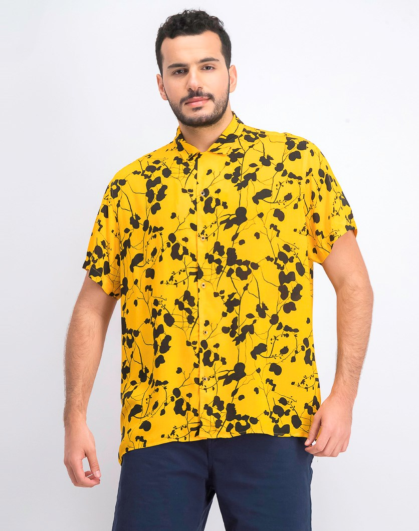 Men's Twig Leaf Shirt, Yellow Combo