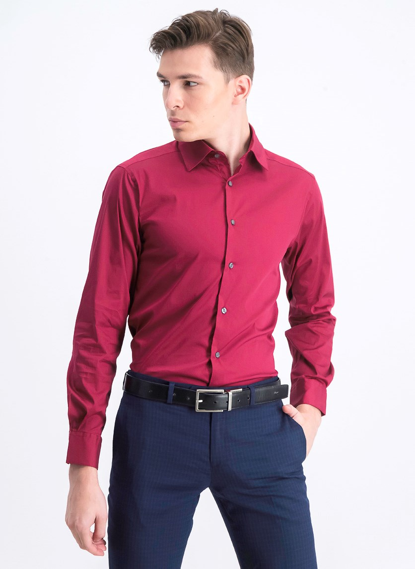 Men's Slim-Fit Stretch Performance Dress Shirt, Ruby
