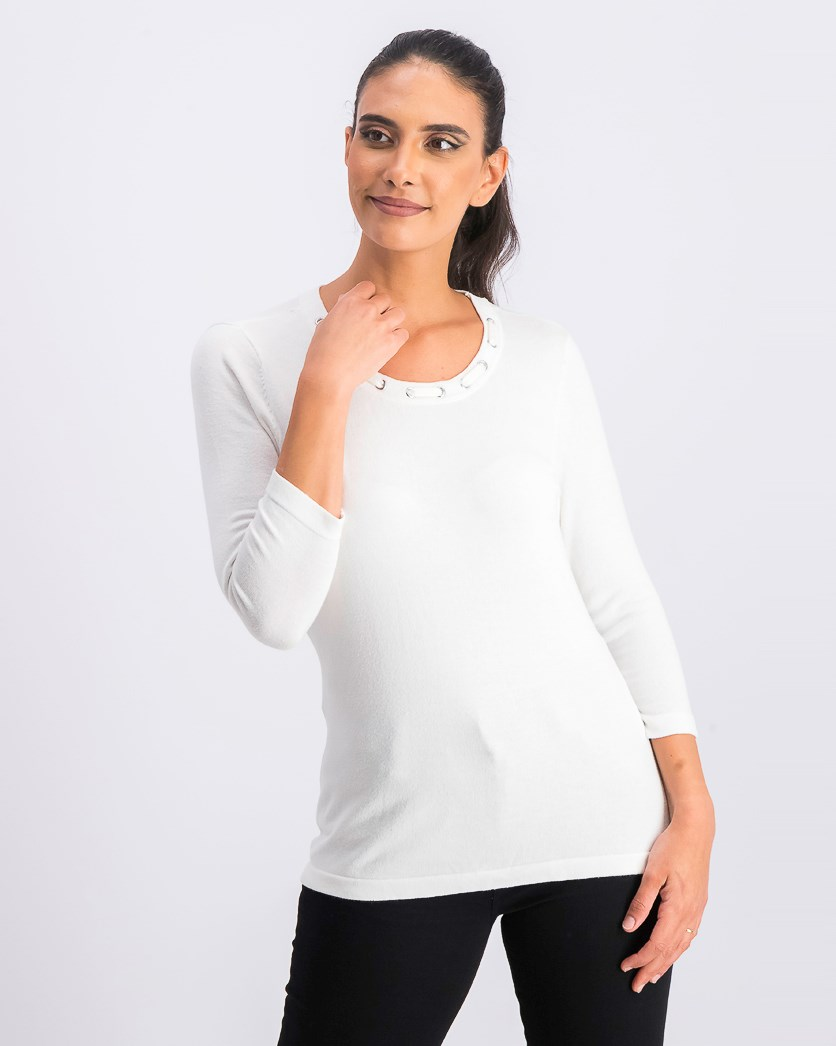 Women's Petite Embellished Sweater, White