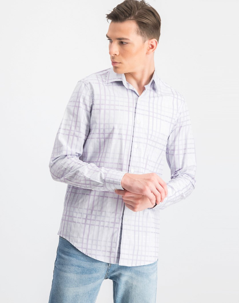 Men's Plaid Button-Down Casual Shirt, Billowing Cloud