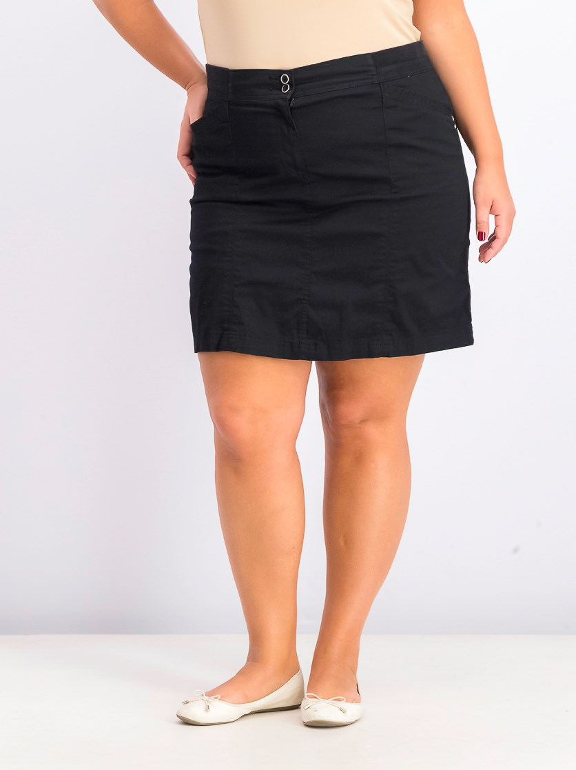 Women's Plus Size A-Line Skort, Deep Black