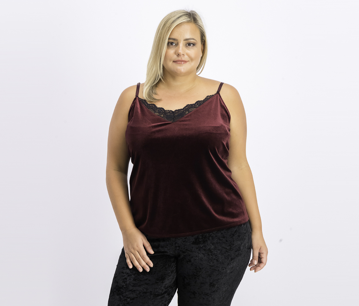 Women's Plus Velvet Layering Camisole Top, Deep Maroon
