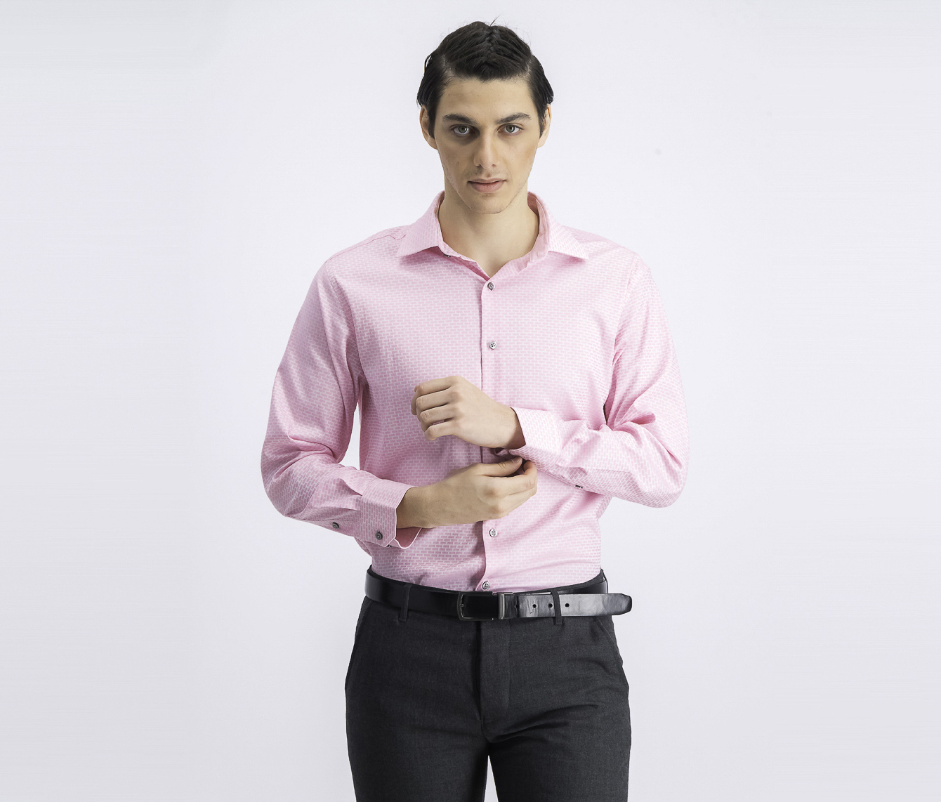 Men's Athletic-Fit AlfaTech Dobby Shirt, Pink