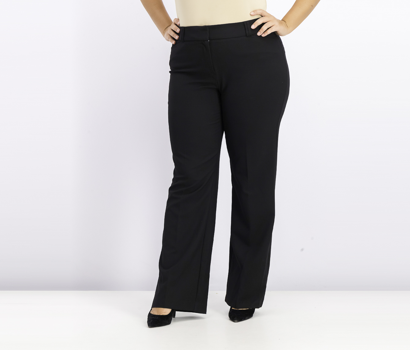 Womens Curvy Bootcut Pants, Black