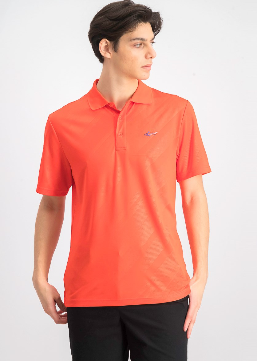 Men's Embossed Logo Polo, Coral