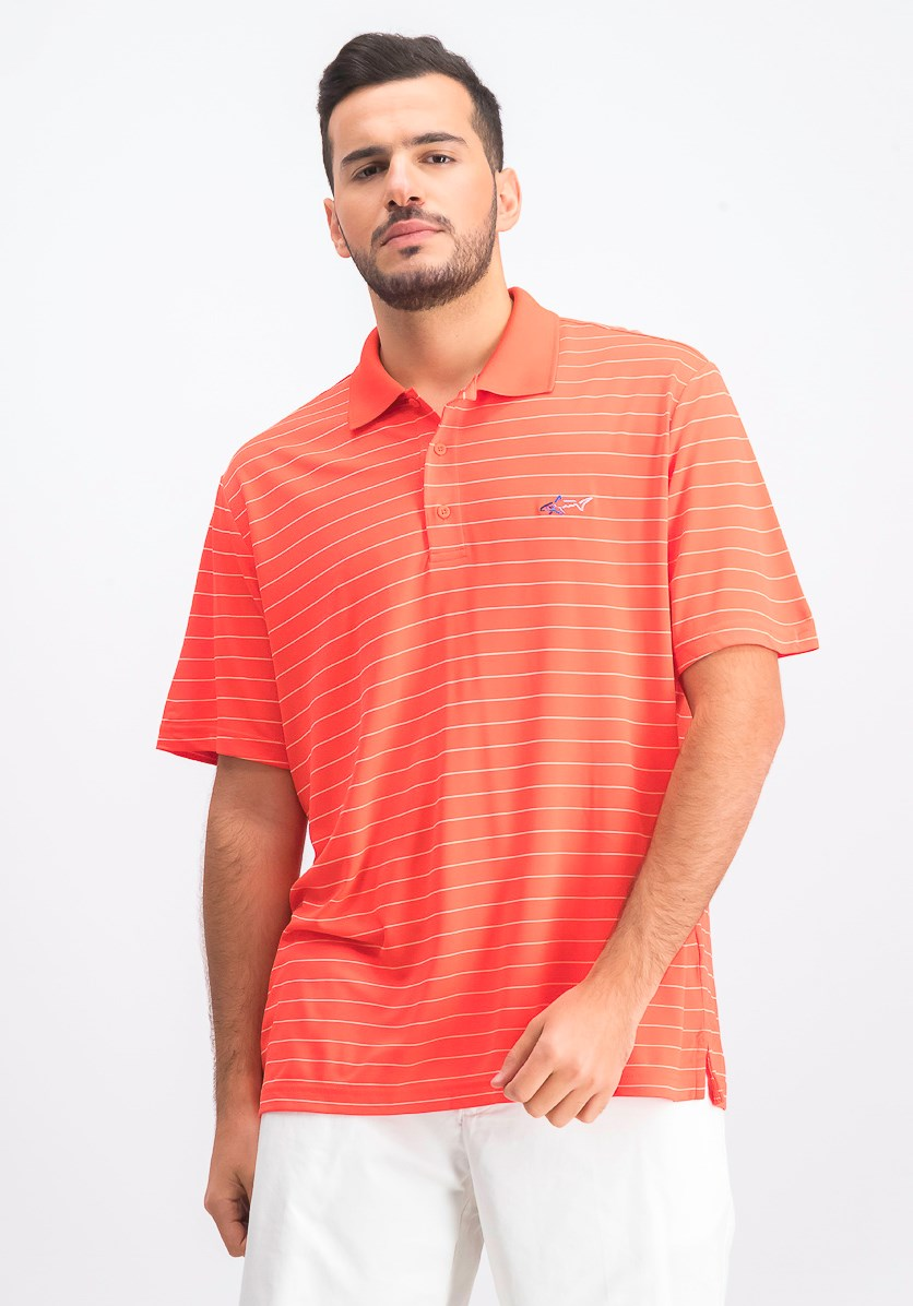 Mens Stiped Polo Shirt, Seaside Coral