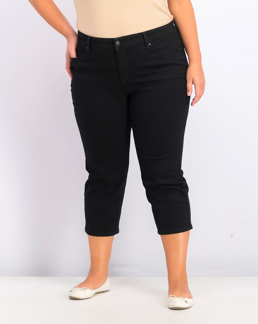 Women's Plus Size Capri Jeans, Black