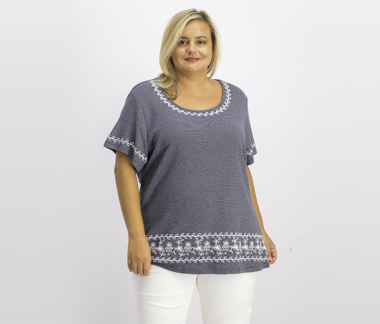 Women's Plus Size Puff Striped Top, Intrepid Blue