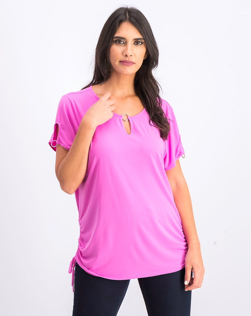 Women's Side-Ruched Keyhole Tunic, Peony  Blossom
