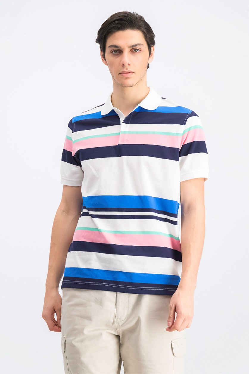 Men's Stripe Stretch Polo, Bright White Combo