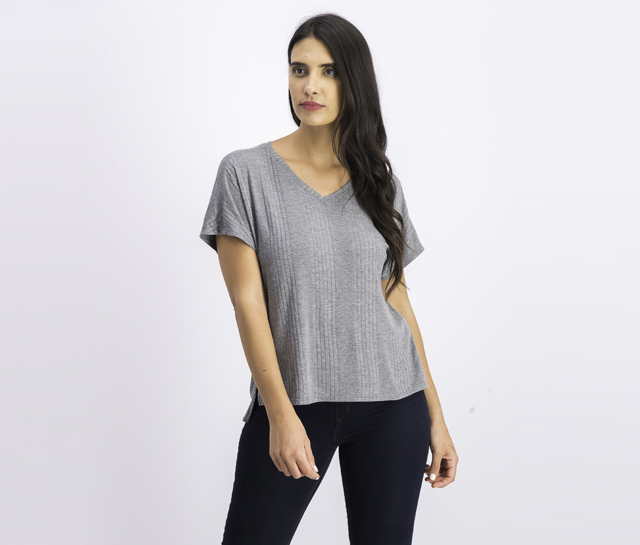 Women's Super Soft Ribbed Top, Pewter Heather