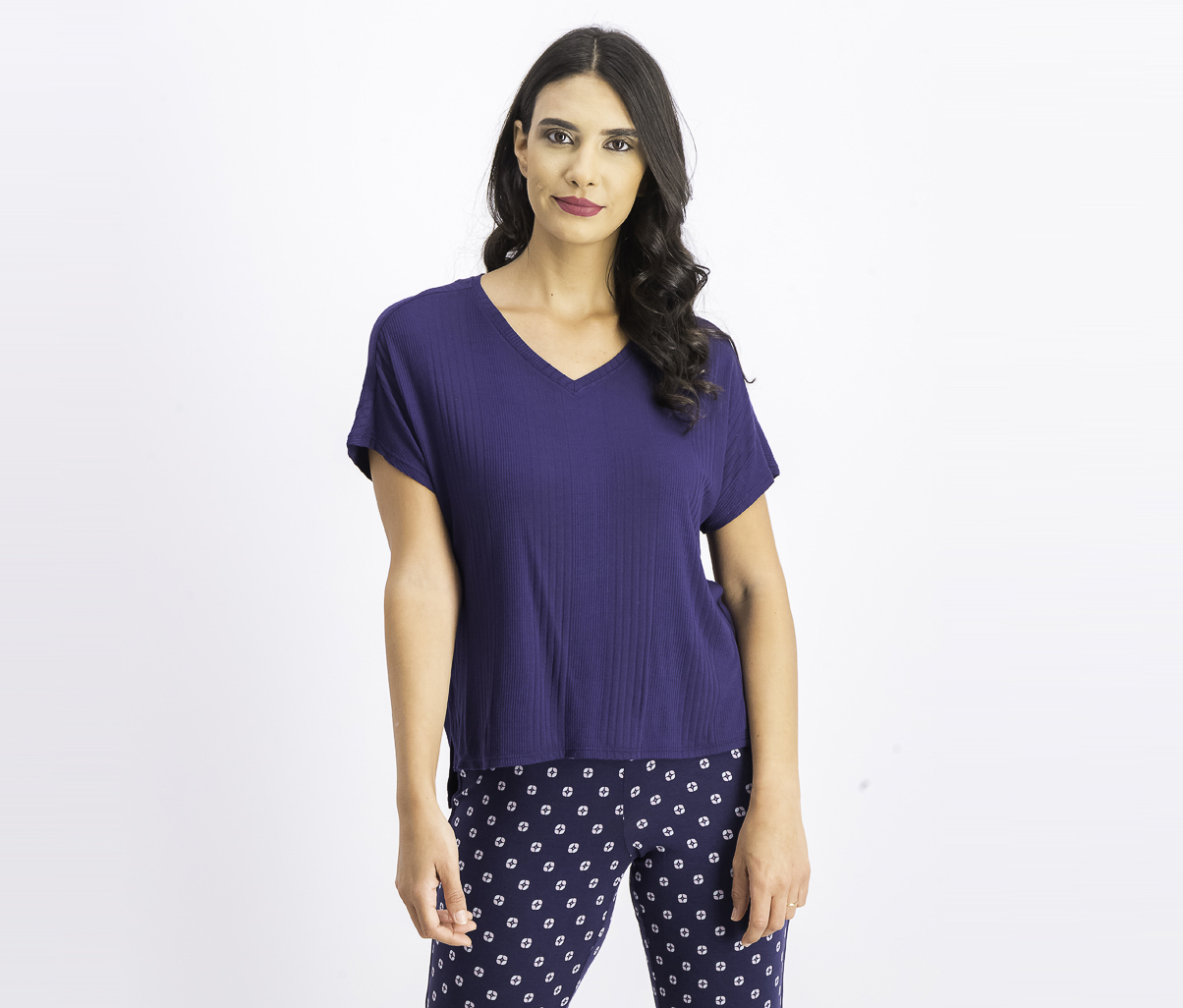 Ribbed Knit Pajama Top, Ink