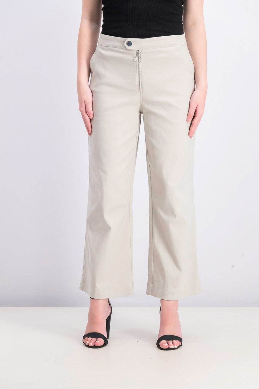 Women's Wide-Leg Mid-Rise Ankle Pants, Toad Stool