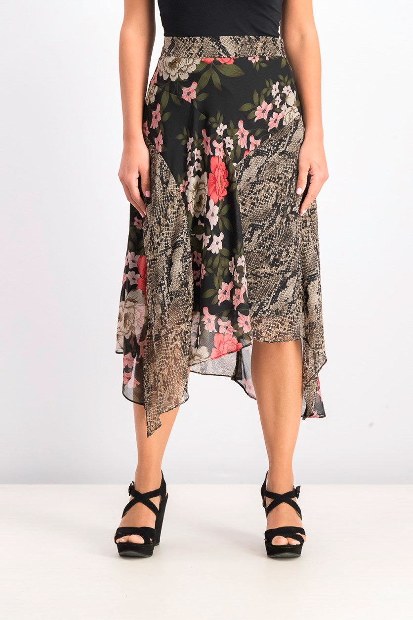 Women's Printed Office Asymmetrical Skirt, Blossom Snake