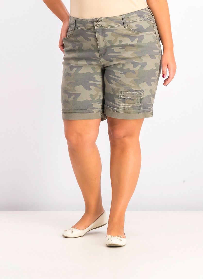 Womens Plus Camouflage Bermuda Denim Shorts, Olive/Khaki
