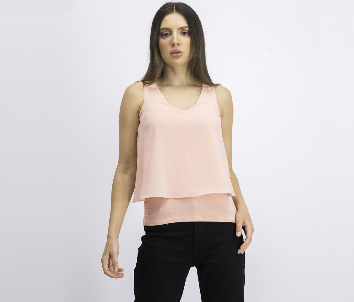 Women's Media Split Back Tank Top, Blushing