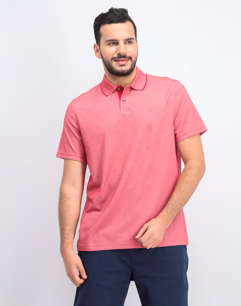 Men's Supima Blend Cotton Polo, Sunset Red