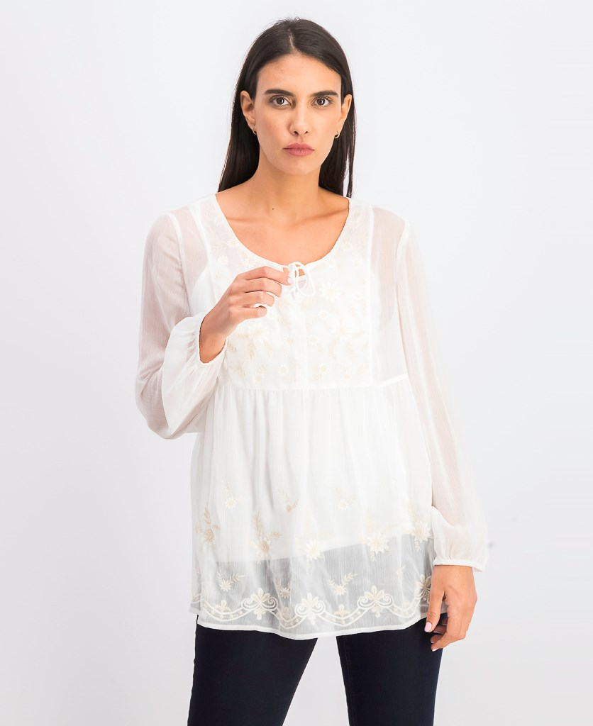 Women's Embroidered Peasant Top, Fiesta Floral