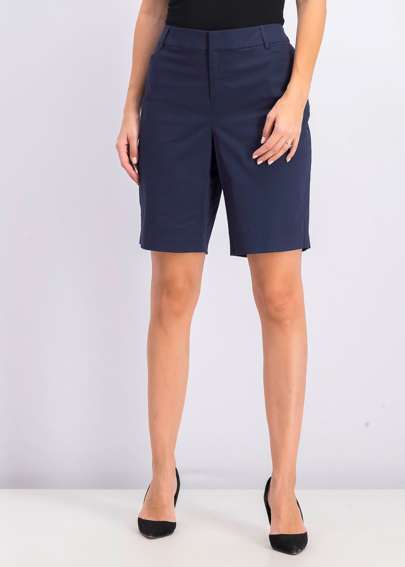 Women's Twill Bermuda Shorts, Intrepid Blue