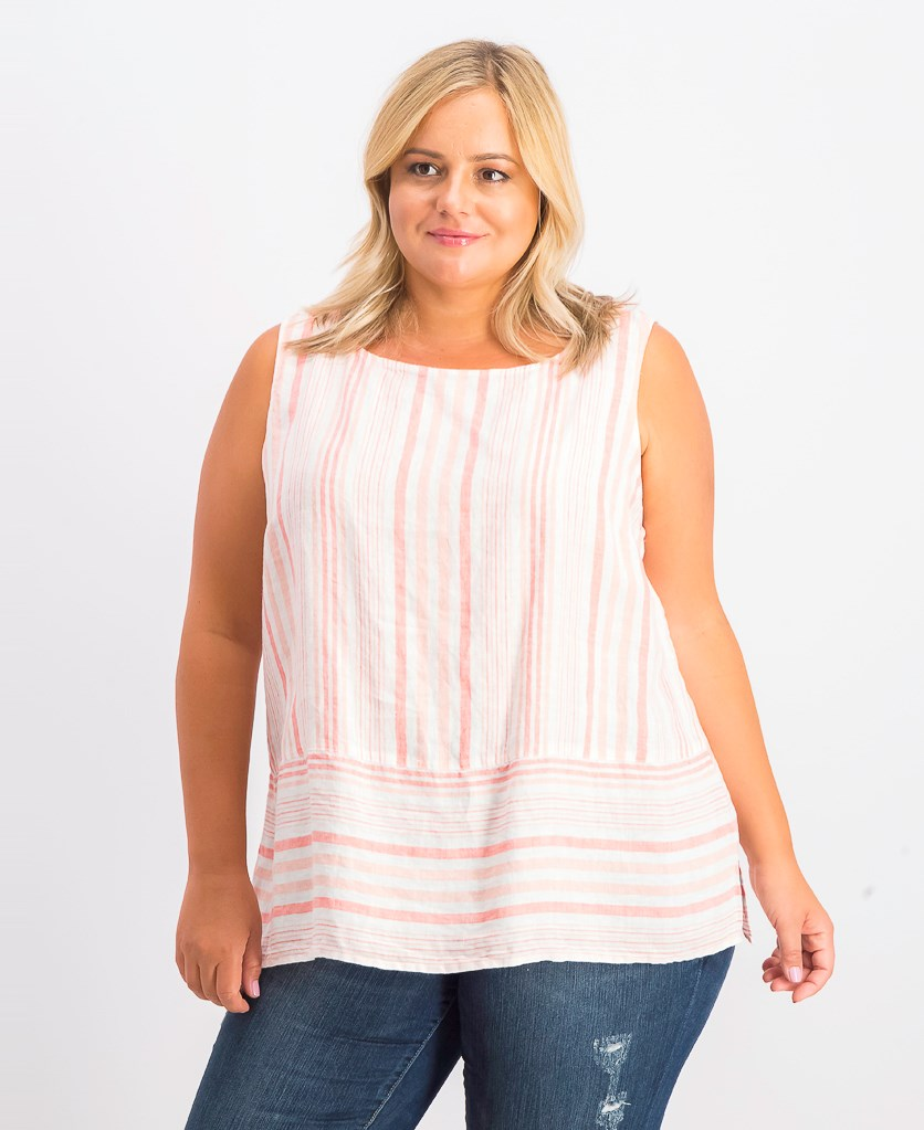 Women's Linen Sleeveless Striped Top, Tuscon Coral Combo