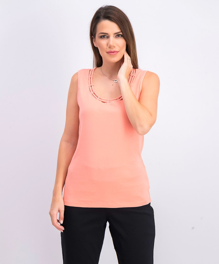 Women's Stud-Trim Ladder-Neck Top, Coral Lining