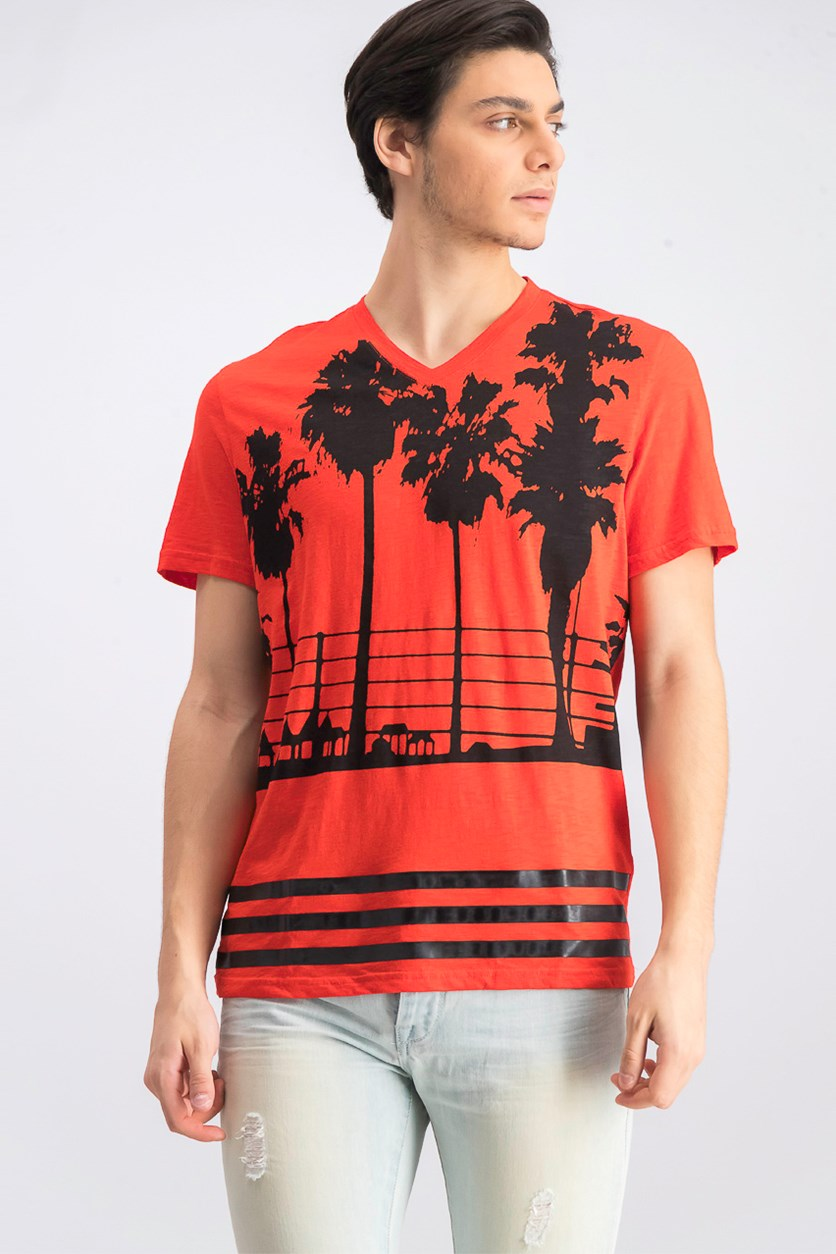 Men's Palm Tree Graphic V-Neck T-Shirt, Hot Sauce