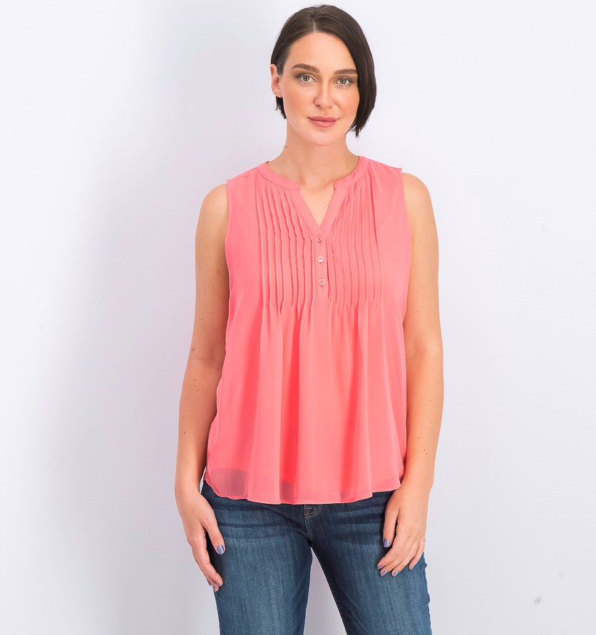 Women's Petite Pintucked Top, Tuscon Coral