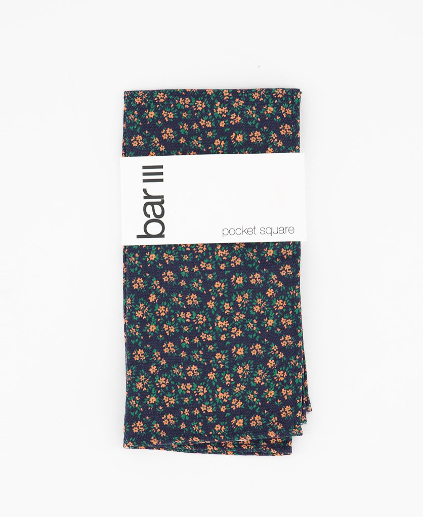Men's Johnson Floral Pocket Square, Dark Navy