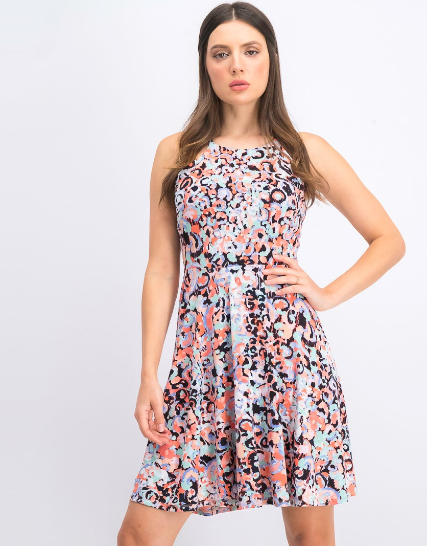 Women's Printed Halter-Neck Fit & Flare Dress, Peach Combo