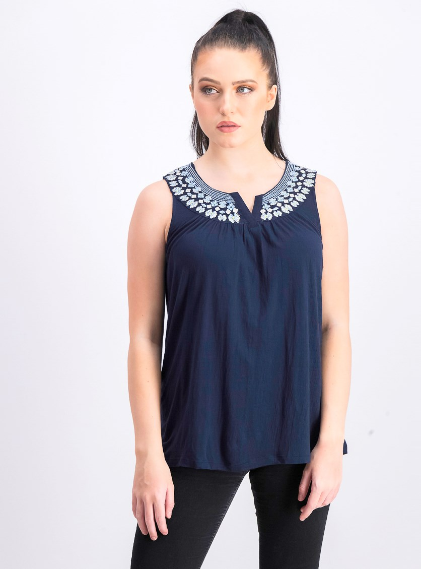 Women's Petite Sleeveless Embroidered Top, Navy Blue