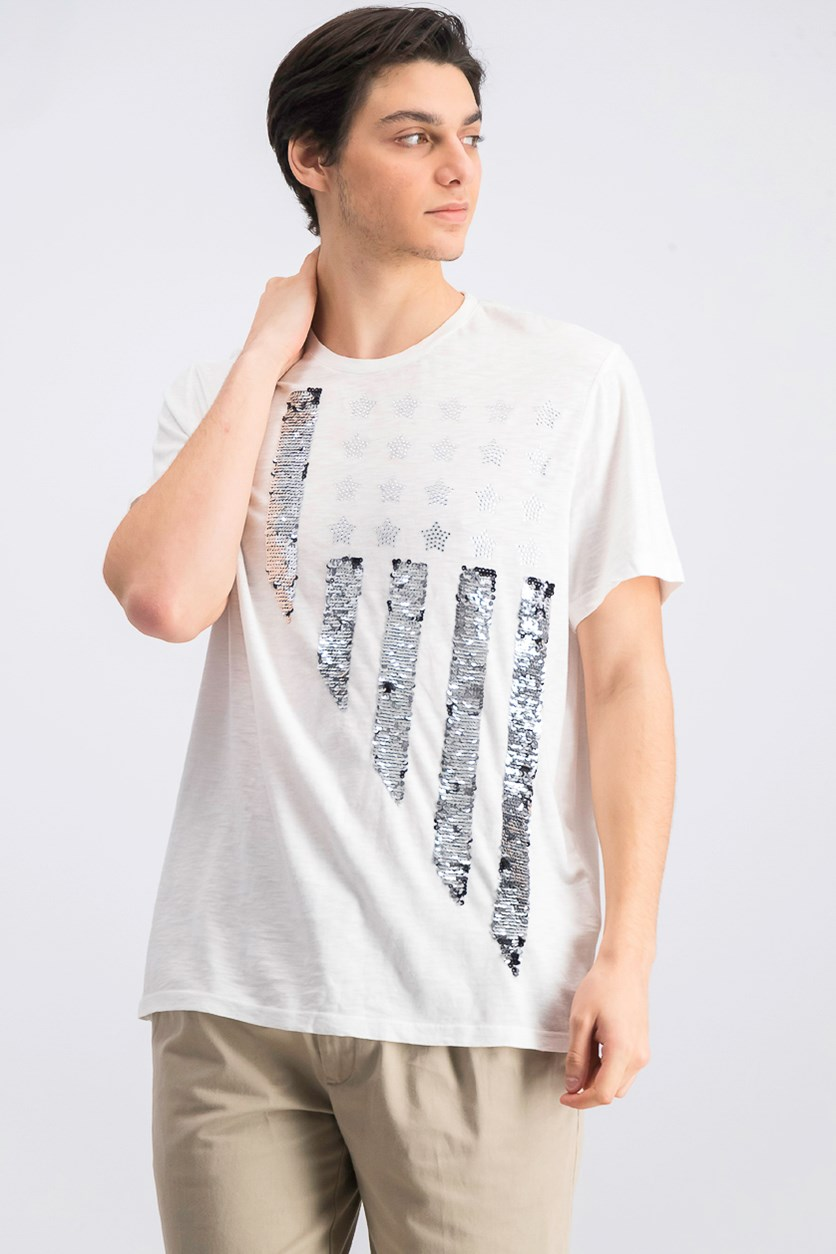 Men's Stars & Stripes Graphic Flag T-Shirt, White
