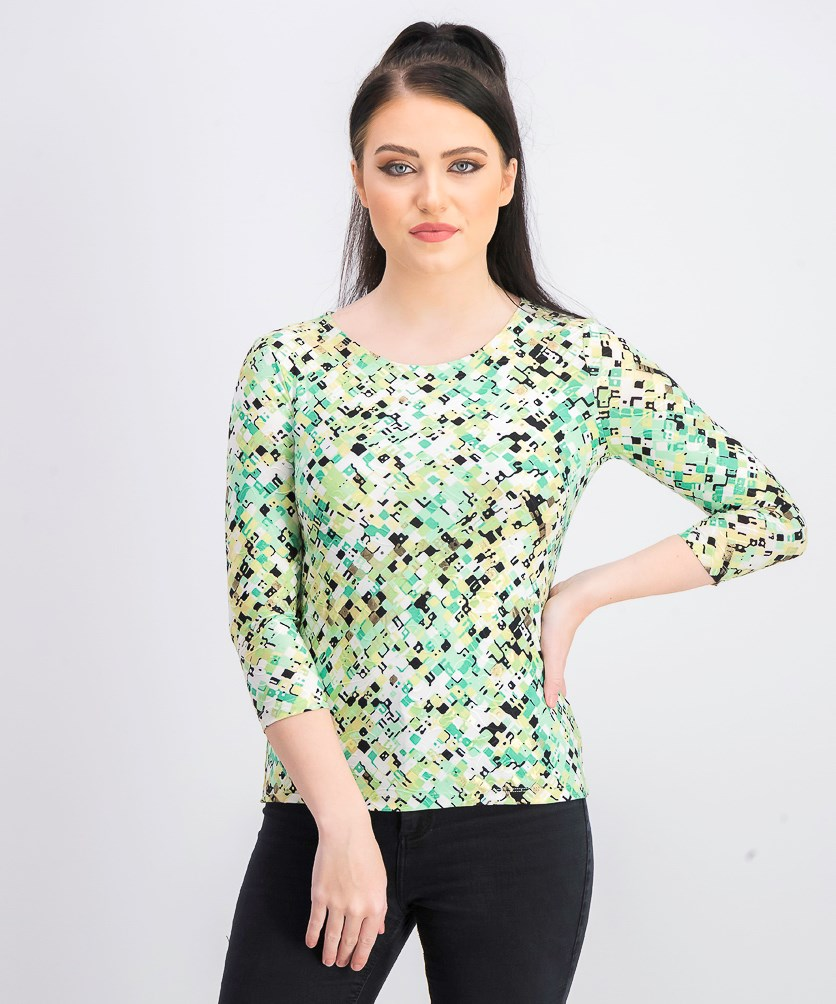 Women's Petite Printed Jacquard Top, Green Combo