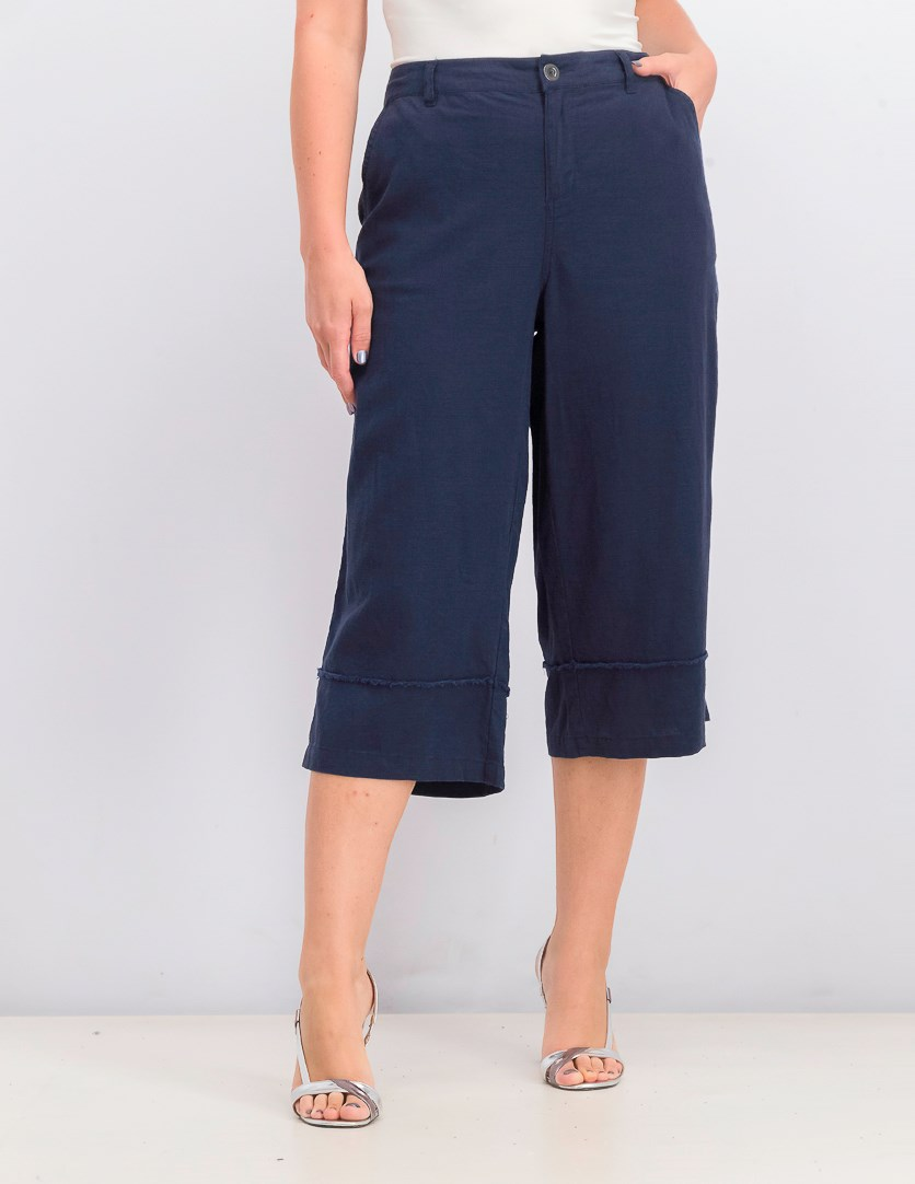 Women's Frayed Wide-Leg Capri Pants, Industrial Blue