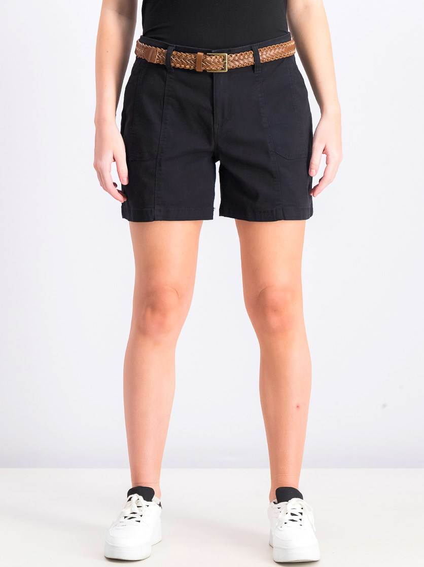 Women's Belted Utility-Pocket Shorts, Deep Black