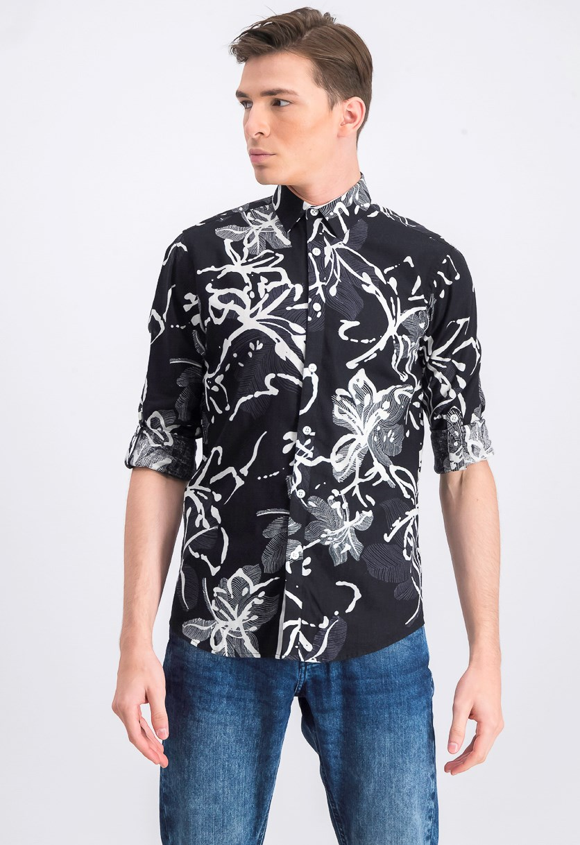 Mens Printed Casual Shirt, Black Combo
