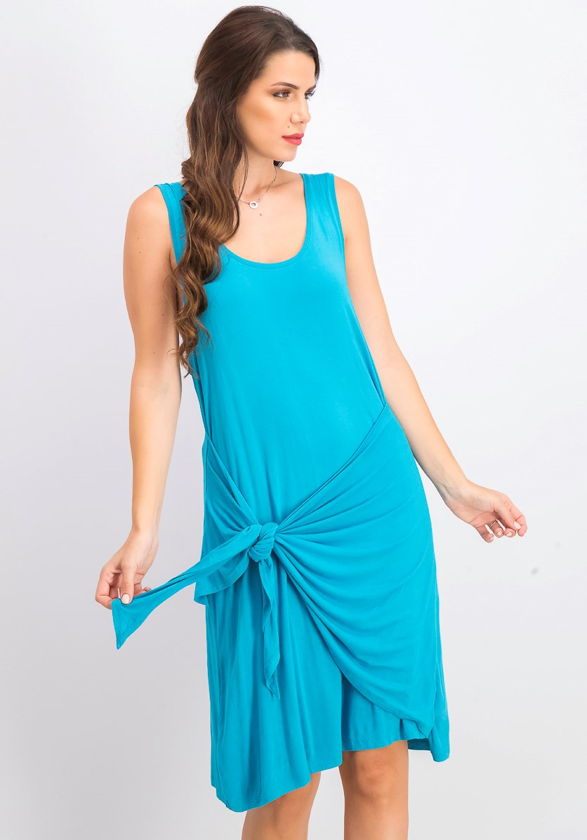 Women's Sleeveless Tie-Front Dress, Lake Teal
