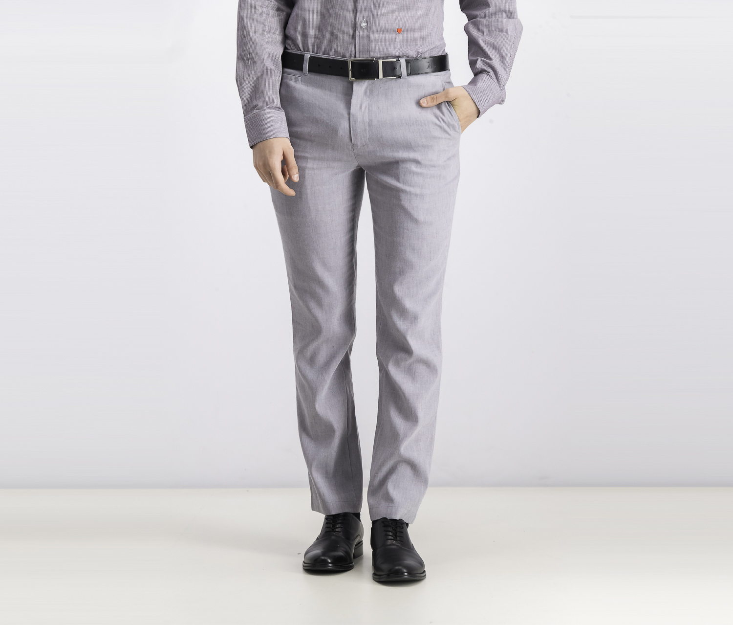 Men's Slim-Fit Linen Pants, Light Grey Combo