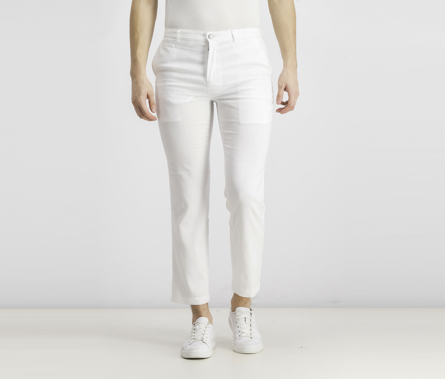 Men's Slim-Fit Stretch Linen Pants, White