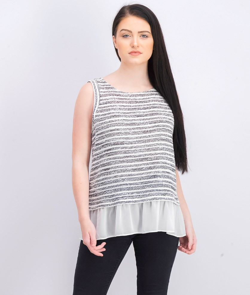 Womens Layered Sleeveless Top, White/Black