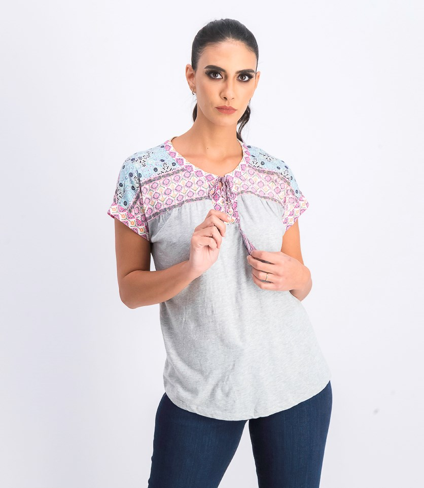 Women's Petite Printed Lace-Up Top, Summer Boarder