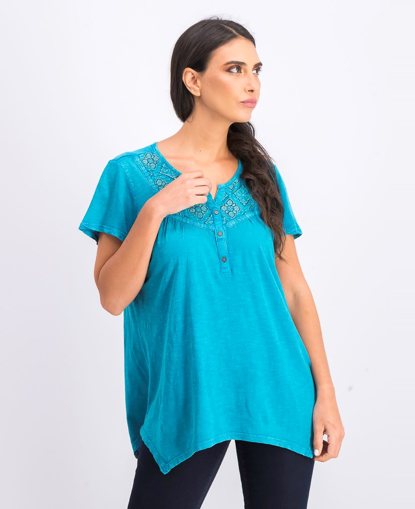 Women's Cotton Embroidered Top, Tile Water