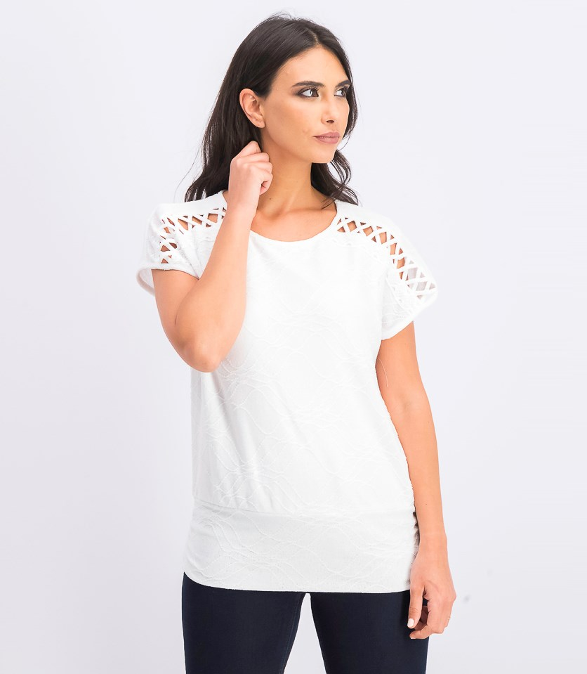 Womens Banded Lattice Top, Bright White