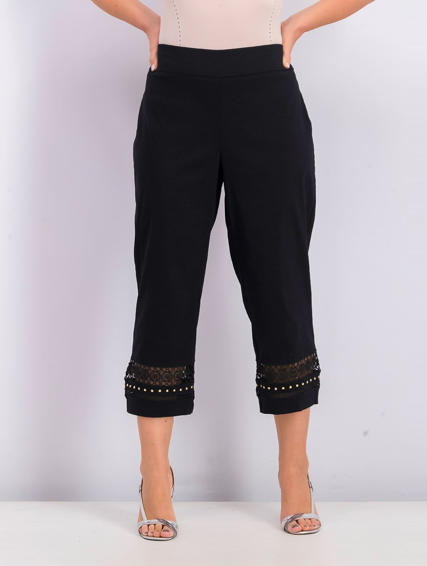 Women's Crochet-Trim Studded Capris Pant, Deep Black